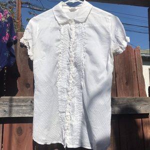 Sheer white polkadot short sleeve button down